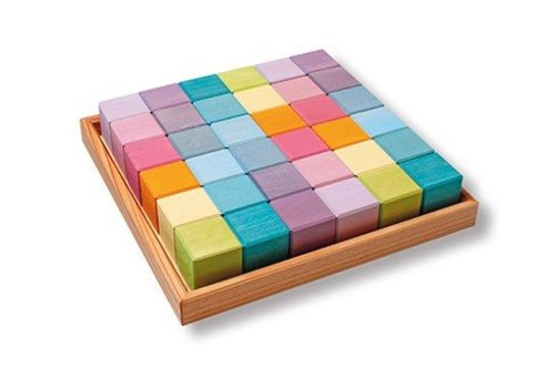 Grimm's Toy's square 36 blocks pastel
