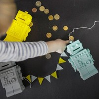 KG Design-Geldkasten grau Roboter Licht