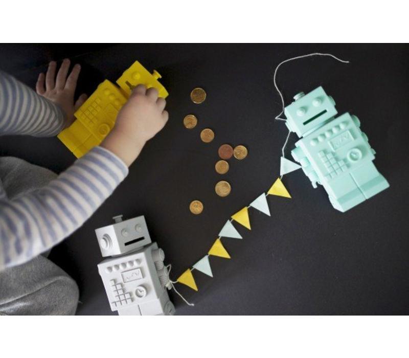 KG Design piggy bank robot mint