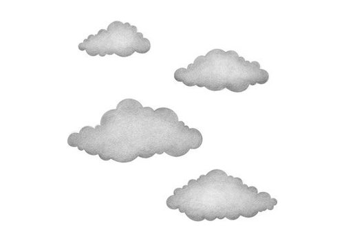 Stickstay muursticker Graphite grey clouds set van 4