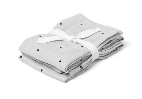 Liewood 2 pack hydrofiel swaddle little dot dumbo grey 70x70