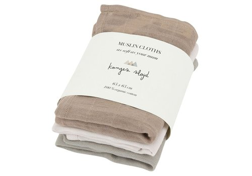 Konges Sløjd 3 pack hydrophilic swaddle rose dust 65x65