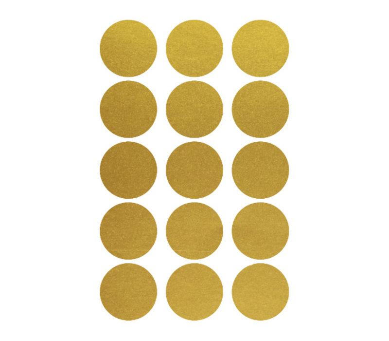 Mevrouw Aardbei 15 muurstickers cirkel goud 5 cm