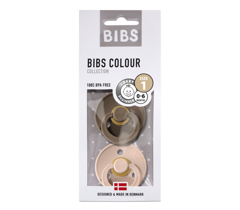 BIBS Fopspeen - Dark Oak & Blush - Maat 1