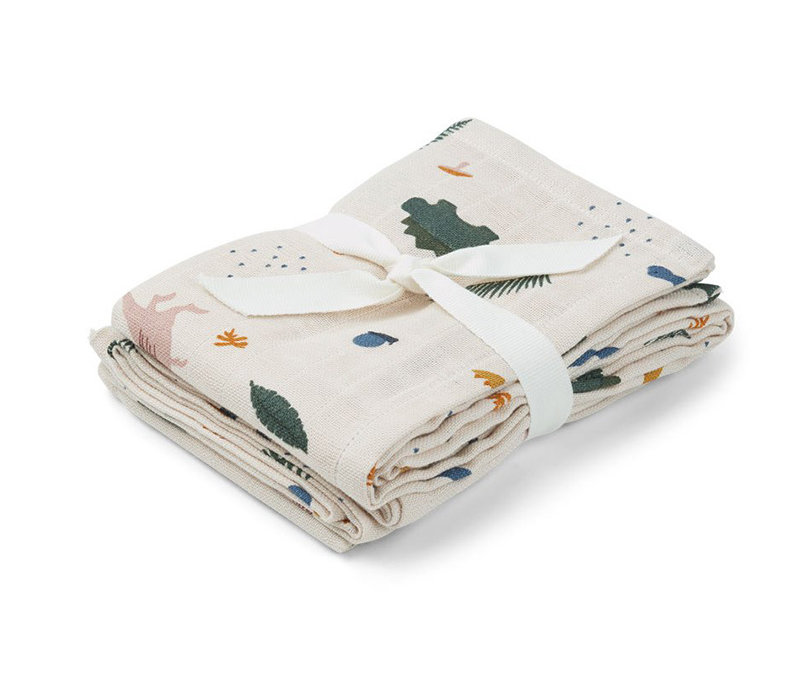 Liewood 2 pack hydrophilic swaddle dino mix 70x70