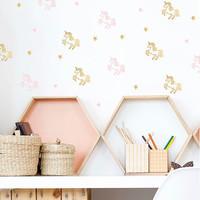 Pom le Bonhomme muurstickers unicorn roze goud