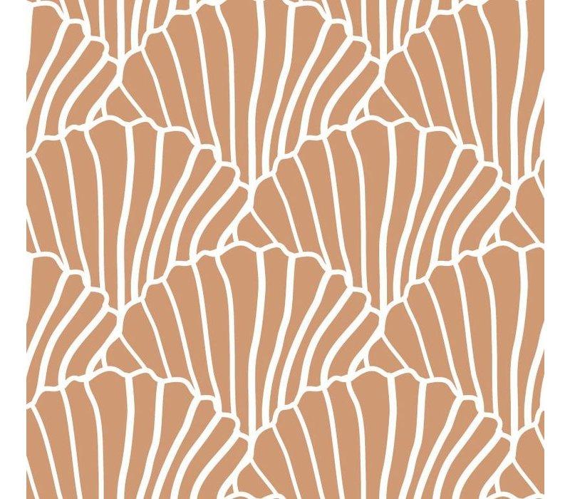 Swedish Linens Seashells hoeslaken terracotta pink - diverse maten