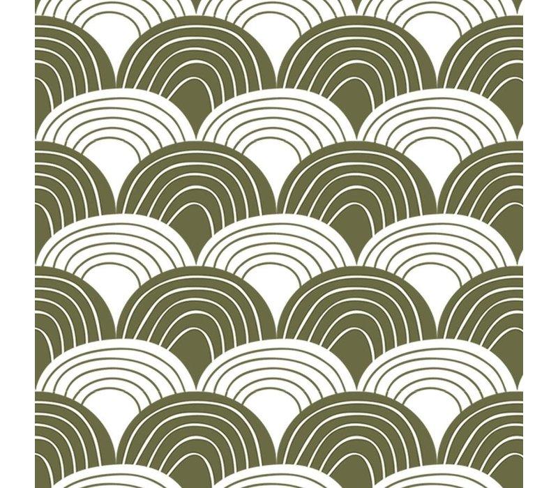 Swedish Linens Rainbows Spannbetttuch olivgrün - verschiedene Größen