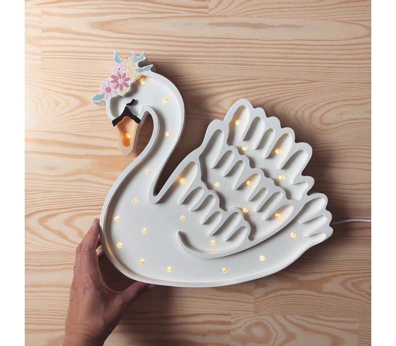 Kleine Lichter Lampe Swan Lake Flower White