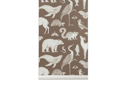 Ferm Living wallpaper Katie Scott Animals brown