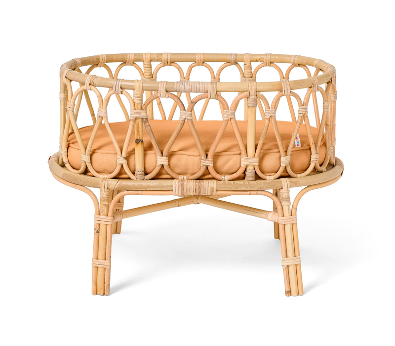 Poppie Rattan doll's cradle with brown mattress