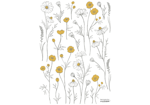 Lilipinso muursticker Buttercups and Chamomile Flowers
