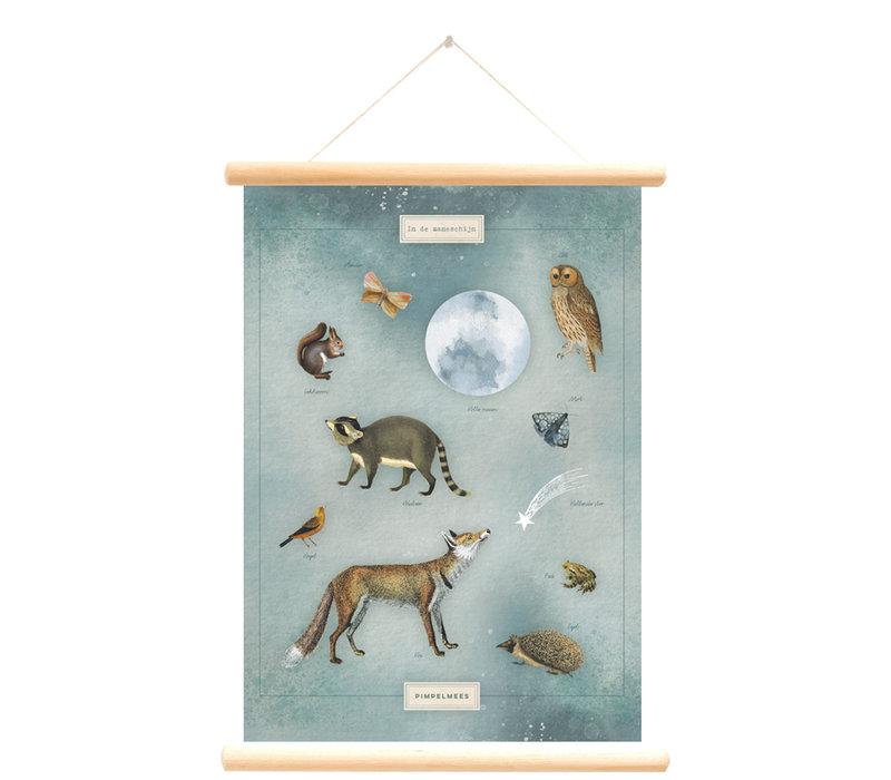 Little & Pure schoolplaat In de maneschijn 50 x 70