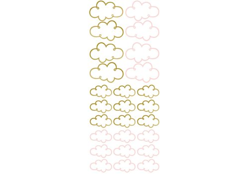 Pom le Bonhomme wall stickers open cloud gold pink