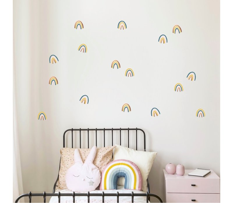 Pom le Bonhomme wall stickers rainbow mix blue