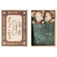 Maileg Baby mouse twins in matchbox petrol