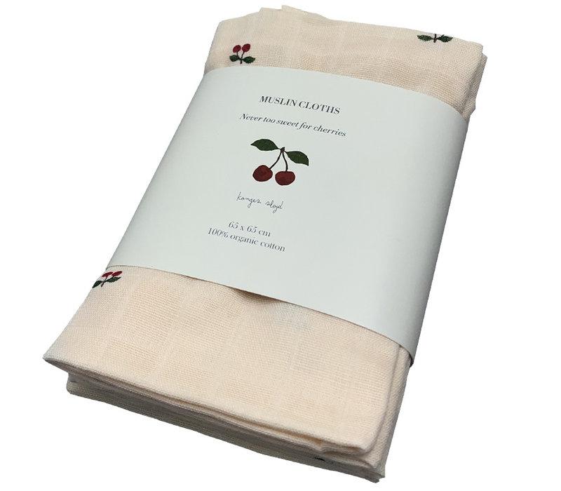 Konges Sløjd hydrophilic cloths cherry 3 pack 65x65