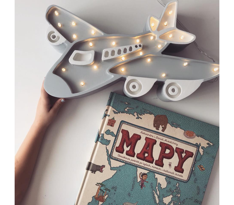 Little Lights Lampe Flugzeug grau