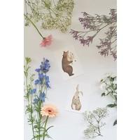 Gezeichnet von Schwester Postkarte Bär mit Blumen