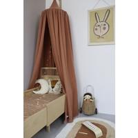 Swedish Linens fitted sheet SEASHELLS Cinnamon brown - various sizes