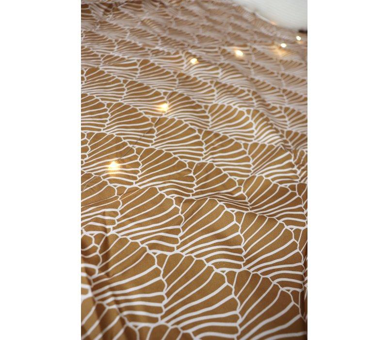 Swedish Linens Seashells hoeslaken cinnamon brown - diverse maten