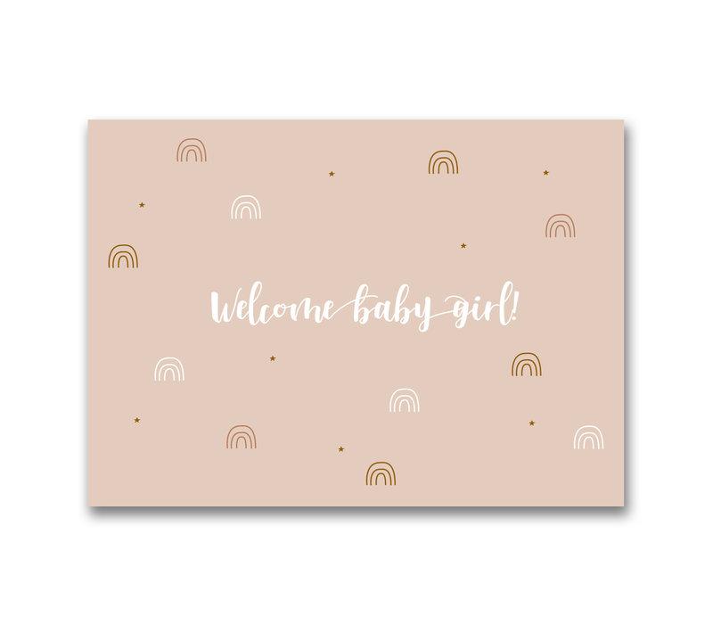 Mevrouw Aardbei ansichtkaart Welcome Baby Girl!