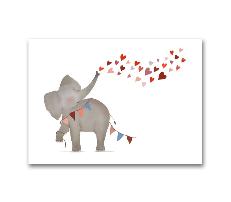 Drawn by sister postcard of Elephant