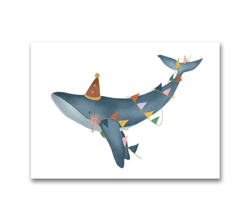 Gezeichnet von Schwester Postkarte Happy Whale