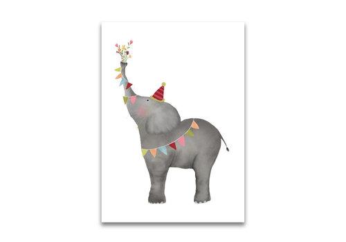 Gezeichnet von Schwester Postkarte Elefant
