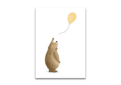 Gezeichnet von Schwester Postkarte Beertje Ballon gelb