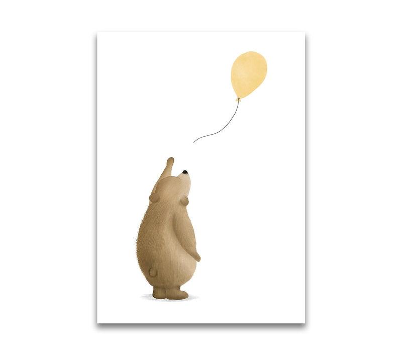 Getekenddoorzusje ansichtkaart Beertje ballon geel