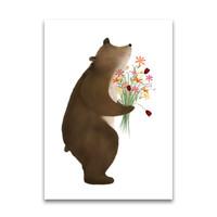 Getekenddoorzusje ansichtkaart Beer met bloemen