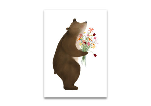 Drawn by sister postcard Bear with flowers