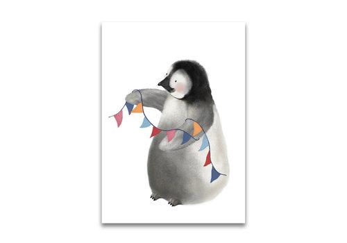 Gezeichnet von Schwester Postkarte Pinguin