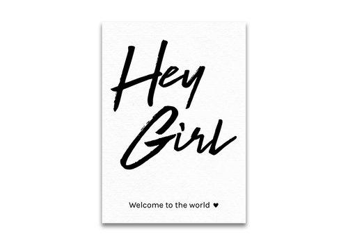 Briefe und Zeilen Postkarte Hey Mädchen