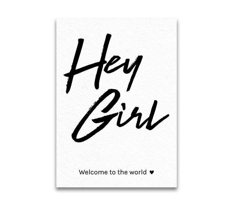 Letters and Lines postcard Hey girl