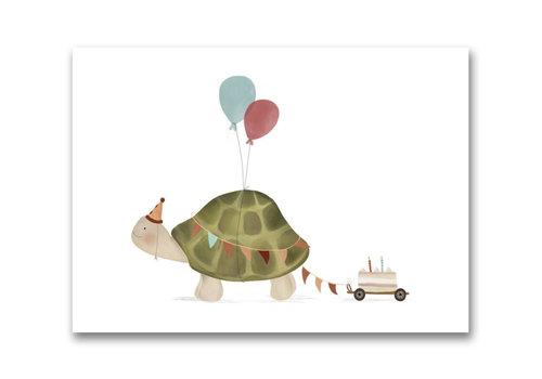 Gezeichnet von Schwester Postkarte Turtle