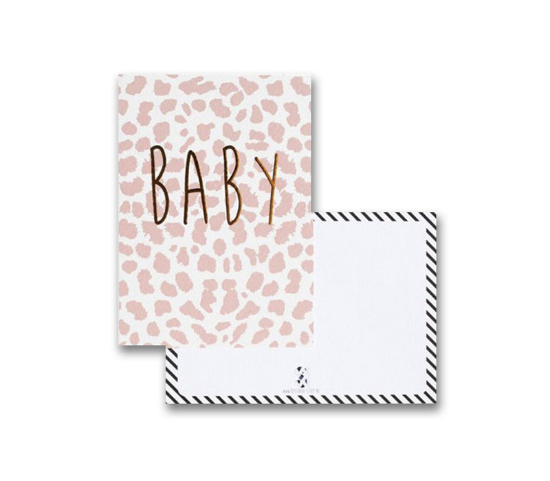By Studio Steef ansichtkaart baby panter - roze