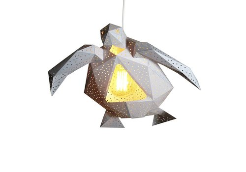Vasili Lights paper DIY hanging lamp turtle - white
