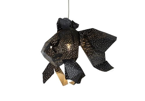 Vasili Lights paper DIY hanging lamp fish - black