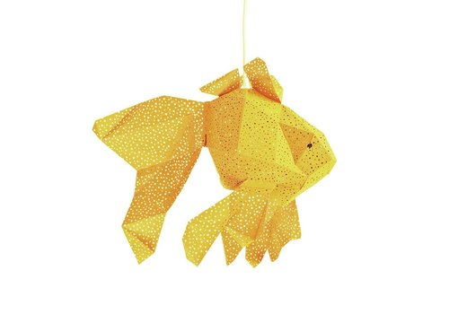 Vasili Lights paper DIY hanging lamp fish - yellow
