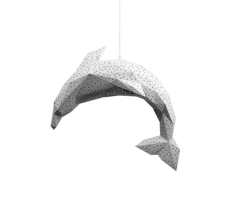 Vasili Lights paper DIY pendant lamp dolphin - white