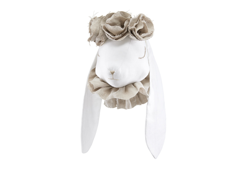 Love me Decoration animal head Rabbit - Beige flowers