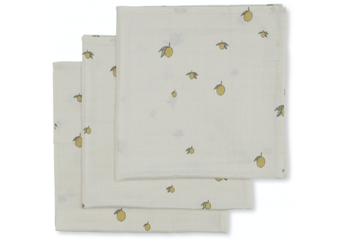Konges Sløjd hydrophilic cloths lemon 3 pack 65x65