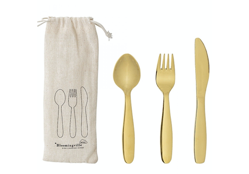 Bloomingville Mini children's cutlery stainless steel gold