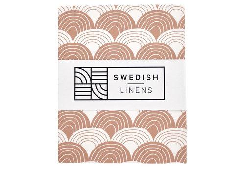 Swedish Linens Rainbows hoeslaken terracotta pink - diverse maten