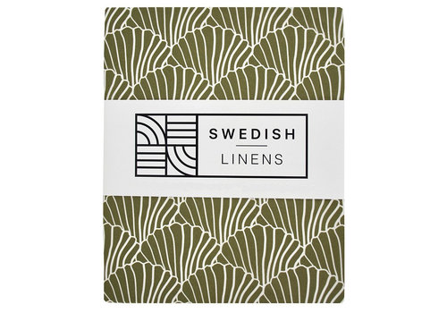 Swedish Linens fitted sheet SEASHELLS Olive green - various sizes
