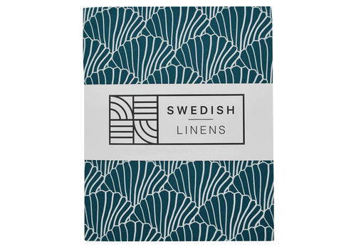 Swedish Linens fitted sheet SEASHELLS Moroccan blue - various sizes