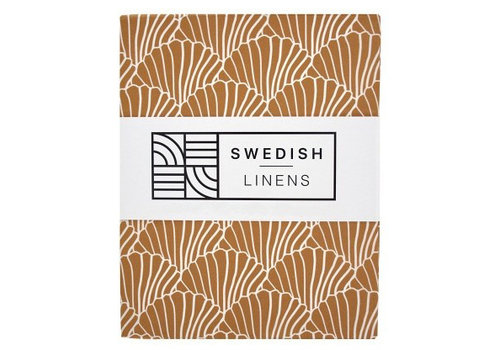 Swedish Linens fitted sheet SEASHELLS Cinnamon brown - various sizes
