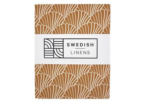 Swedish Linens Seashells fitted sheet cinnamon brown - various sizes